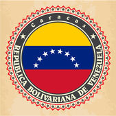 Vintage label cards of Venezuela flag. — Vettoriale Stock