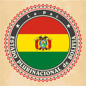 Vintage label cards of Bolivia flag. — Vettoriale Stock