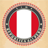 Vintage label cards of Peru flag. — Vector de stock