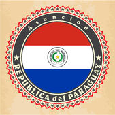 Vintage label cards of Paraguay flag. — Stok Vektör
