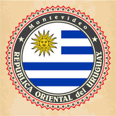 Vintage label cards of Uruguay flag. — ストックベクタ