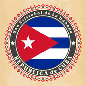 Vintage label cards of Cuba flag. — Stock Vector