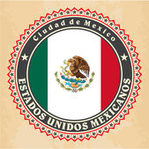 Vintage label cards of Mexico flag. — Stock Vector