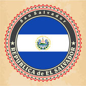 Vintage label cards of El Salvador flag. — Vector de stock