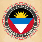 Vintage label cards of Antigua and Barbuda flag. — Stock vektor