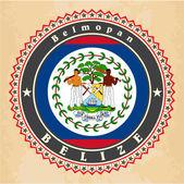Vintage label cards of Belize flag. — Stock Vector