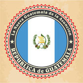 Vintage label cards of Guatemala flag. — Stock Vector