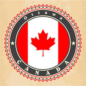 Vintage label cards of Canada flag. — ストックベクタ