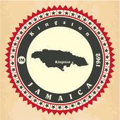 Ročník label samolepka karty Jamajka. — Stock vektor