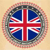 Vintage label cards of United Kingdom flag. — Stock Vector
