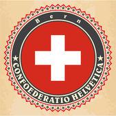 Vintage label cards of Switzerland flag. — Stock Vector