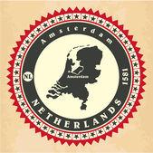 Vintage label-sticker cards of Netherlands. — Stock Vector