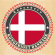 Vintage label cards of Denmark flag — Stock Vector