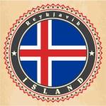 Vintage label cards of Iceland flag. — Stock Vector