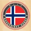 Stock Vector: Vintage label cards of  Norway flag.