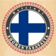 Stock Vector: Vintage label cards of  Finland flag.