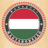 Vintage label cards of Hungary flag.  — Stock Vector