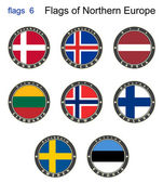 Flags of North Europe. Flags 6. — Stock Vector