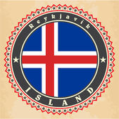 Vintage label cards of  Iceland flag.  — Stock Vector