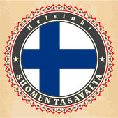 Vintage label cards of  Finland flag.  — Vector de stock