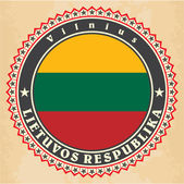 Vintage label cards of  Lithuania flag.  — Stock Vector