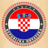 Vintage label cards of  Croatia flag.  — Stock Vector