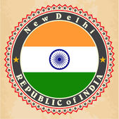 Vintage label cards of  India flag.  — Stock Vector