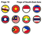 Flags of South-East Asia. Flags 10. — Stock Vector