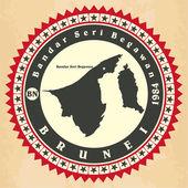 Vintage label-sticker cards of Brunei.  — Stock Vector