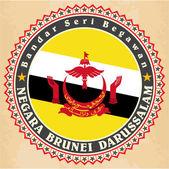 Vintage label cards of Brunei flag.  — Stock Vector
