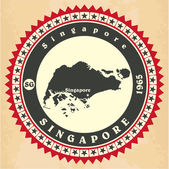 Vintage label-sticker cards of Singapore.  — Stock Vector