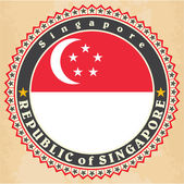 Vintage label cards of Singapore flag.  — Stock Vector