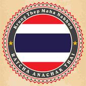 Vintage etiket kartları Tayland bayrağı. — Stok Vektör