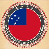 Vintage label cards of Samoa flag.  — Stock Vector
