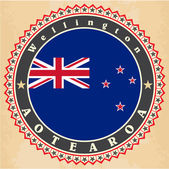Vintage label cards of New Zealand flag.  — Stock Vector