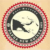 Vintage label-sticker cards of Papua New Guinea. — Vecteur