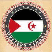 Vintage label cards of Western Sahara flag.  — Stock Vector