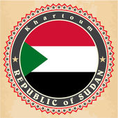 Vintage label cards of Sudan flag.  — Stock Vector