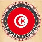 Tarjetas de marca vintage de bandera de Túnez. — Vector de stock