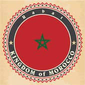 Vintage label cards of Morocco flag.  — Stock Vector