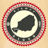 Vintage label-sticker cards of Niger. — Stock Vector