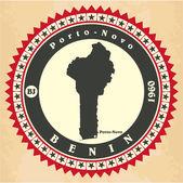 Vintage label-sticker cards of Benin. — Stock Vector