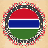 Vintage label cards of Gambia flag.  — Stock Vector