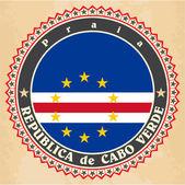 Vintage label cards of Cape Verde flag.  — Stock Vector