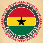 Vintage label cards of Ghana flag.  — Stock Vector