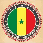 Vintage label cards of Senegal flag.  — Stock Vector