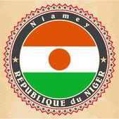 Vintage label cards of Niger flag. — Stock Vector