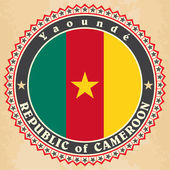 Vintage label cards of Cameroon flag. — Stock Vector
