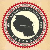 Ročník label samolepka karty z Tanzanie. — Stock vektor