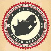 Ročník label samolepka karty z Jižní Afriky. — Stock vektor